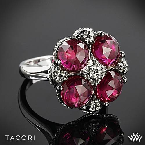 Tacori SR15334 City Lights Clear Quartz over Ruby Red Quartz Ring in Sterling Silver with 18k Yellow Gold Accents