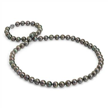 """Tahitian Cultured Pearl Strand Necklace with Cage Clasp in 18k White Gold  - 36"" Long (12-13mm) """