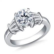 Tapered Baguette Diamond Engagement Ring in 14K White Gold (1/2 cttw.) | B2C Jewels