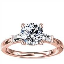Tapered Baguette Diamond Engagement Ring in 18k Rose Gold (1/6 ct. tw.) | Blue Nile