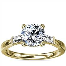Tapered Baguette Diamond Engagement Ring in 18k Yellow Gold (1/6 ct. tw.) | Blue Nile