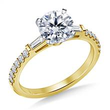 Tapered Baguette Engagement Ring with Accent Diamonds in 14K Yellow Gold (1/3 cttw.) | B2C Jewels