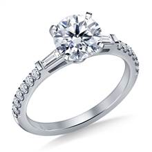 Tapered Baguette Engagement Ring with Accent Diamonds in 18K White Gold (1/3 cttw.)   B2C Jewels
