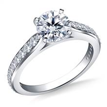 Tapered Cathedral Diamond Ring in 18K White Gold (1/3 cttw.) | B2C Jewels