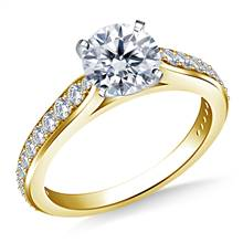 Tapered Cathedral Diamond Ring in 18K Yellow Gold (1/3 cttw.) | B2C Jewels
