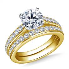 Tapered Cathedral Diamond Ring with Matching Band in 18K Yellow Gold (3/4 cttw.) | B2C Jewels