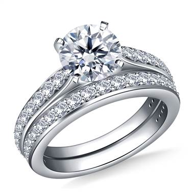 Tapered Cathedral Diamond Ring with Matching Band in Platinum (3/4 cttw.)