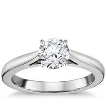 Tapered Cathedral Solitaire Engagement Ring in Platinum | Blue Nile