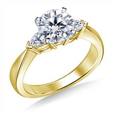 Tapered Diamond Engagement Ring with Pear Shaped Side Stones in 14K Yellow Gold (1/2 cttw) | B2C Jewels