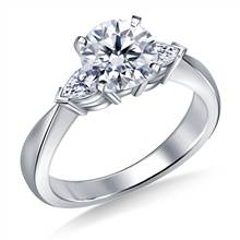 Tapered Diamond Engagement Ring with Pear Shaped Side Stones in 18K White Gold (1/2 cttw) | B2C Jewels
