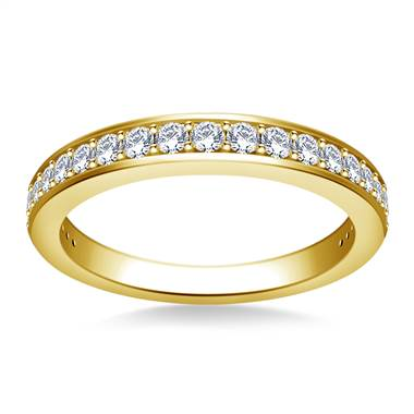 Tapered Pave Set Diamond Band in 14K Yellow Gold (3/8 cttw.)