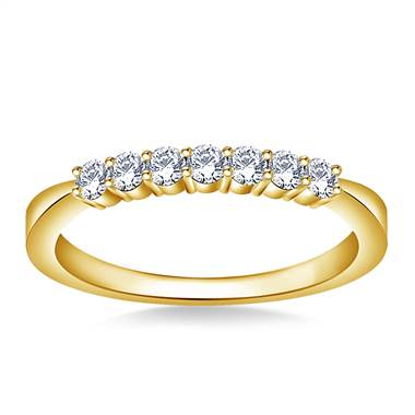 Tapered Prong Set Round Diamond Band in 18K Yellow Gold (1/3 cttw.)