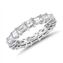 The Gallery Collection™ Emerald-Cut and Asscher-Cut Diamond Eternity Ring in Platinum (4 ct. tw.) | Blue Nile