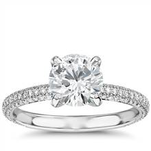 The Gallery Collection™ Rolled Micropave Diamond Engagement Ring in Platinum (3/8 ct. tw.) | Blue Nile