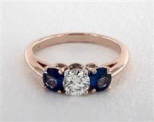 Three Stone Blue Sapphire .8ctw Engagement Ring in 14K Rose Gold 2.2mm Width Band (Setting Price) | James Allen
