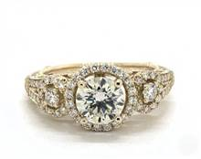 Three Stone Decorative Engagement Ring in 14K Yellow Gold 5.7mm Width Band (Setting Price) | James Allen