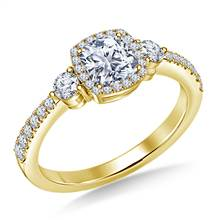 Three Stone Diamond Cushion Halo Engagement Ring in 14K Yellow Gold | B2C Jewels