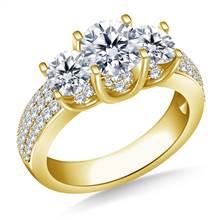 Three Stone Diamond Engagement Ring In 14K Yellow Gold (1 3/8 cttw.) | B2C Jewels