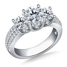 Three Stone Diamond Engagement Ring In 18K White Gold (1 3/8 cttw.) | B2C Jewels