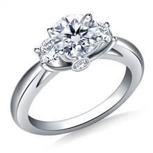 Three Stone Diamond Ring in 18K White Gold | B2C Jewels