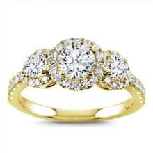 Three Stone Halo for Round Diamonds | Adiamor