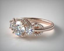 Three Stone Pave Silhouette Engagement Ring in 14K Rose Gold 2mm Width Band (Setting Price) | James Allen