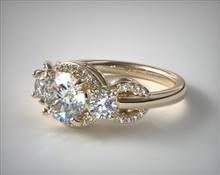 Three Stone Pave Silhouette Engagement Ring in 14K Yellow Gold 2mm Width Band (Setting Price) | James Allen