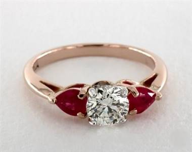 Three-Stone Pear-Ruby .8ctw Engagement Ring in 2.2mm 14K Rose Gold (Setting Price)