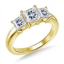Three Stone Princess Diamond Engagement Ring in 14K Yellow Gold | B2C Jewels
