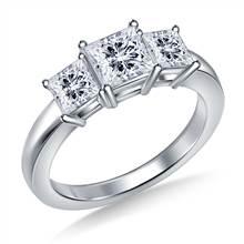 Three Stone Princess Diamond Engagement Ring in Platinum | B2C Jewels