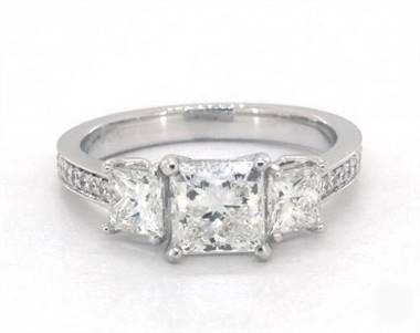 Three-Stone Princess & Pave .94ctw Engagement Ring in 18K White Gold 4mm Width Band (Setting Price)