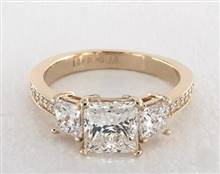 Three-Stone Princess & Pave .94ctw Engagement Ring in 4mm 14K Yellow Gold (Setting Price) | James Allen