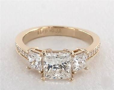 Three-Stone Princess & Pave .94ctw Engagement Ring in 4mm 18K Yellow Gold (Setting Price)