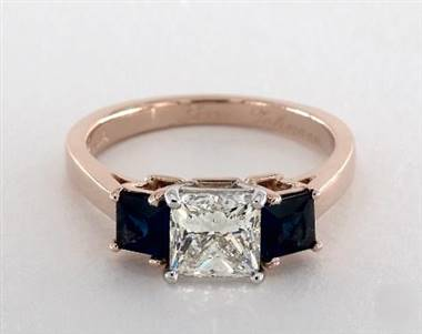 Three Stone Princess-Sapphire .9ctw Engagement Ring in 14K Rose Gold 2.2mm Width Band (Setting Price)