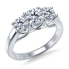 Three Stone Trellis Diamond Engagement Ring in 18K White Gold | B2C Jewels