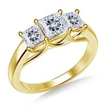 Three Stone Trellis Diamond Engagement Ring in 18K Yellow Gold | B2C Jewels