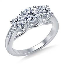Three Stone Trellis Diamond Engagement Ring With Diamond Accents in 14K White Gold | B2C Jewels