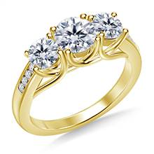 Three Stone Trellis Diamond Engagement Ring With Diamond Accents in 14K Yellow Gold | B2C Jewels