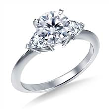 Three Stone Trillion Accented Diamond Engagement Ring in 14K White Gold | B2C Jewels
