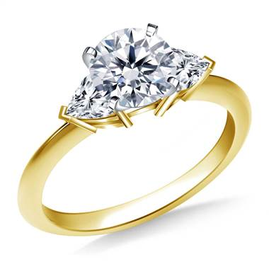 Three Stone Trillion Accented Diamond Engagement Ring in 18K Yellow Gold
