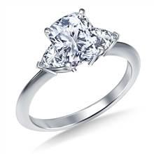 Three Stone Trillion Accented Diamond Engagement Ring in Platinum | B2C Jewels