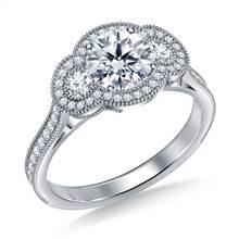 Three Stone Vintage Halo Diamond Engagement Ring in 14K White Gold | B2C Jewels
