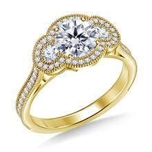 Three Stone Vintage Halo Diamond Engagement Ring in 14K Yellow Gold | B2C Jewels