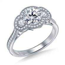 Three Stone Vintage Halo Diamond Engagement Ring in 18K White Gold | B2C Jewels