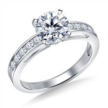 Timeless Channel Set Round Diamond Engagement Ring in 18K White Gold (1/5 cttw.) | B2C Jewels