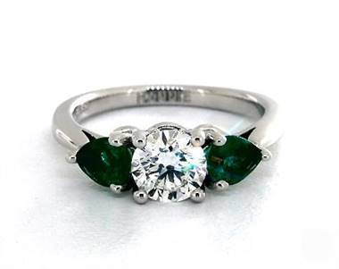Timeless Pear-Emerald Three-Stone Engagement Ring in 18K White Gold 2.2mm Width Band (Setting Price)