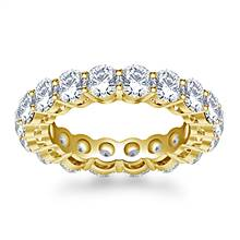 Timeless Prong Set Round Diamond Eternity Ring in 18K Yellow Gold (3.40 - 4.00 cttw.) | B2C Jewels