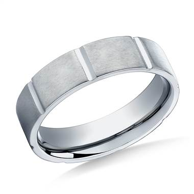 Titanium 6mm Comfort-Fit Satin-Finished Vertical Cuts Design Band