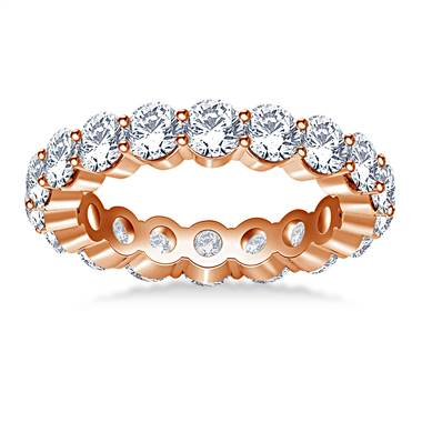 Traditional Prong Set Round Diamond Eternity Ring in 18K Rose Gold (2.70 -3.00 cttw.)