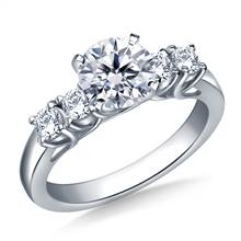 Trellis Diamond Engagement Ring with Four Side Diamonds in 14K White Gold (3/8 cttw.) | B2C Jewels